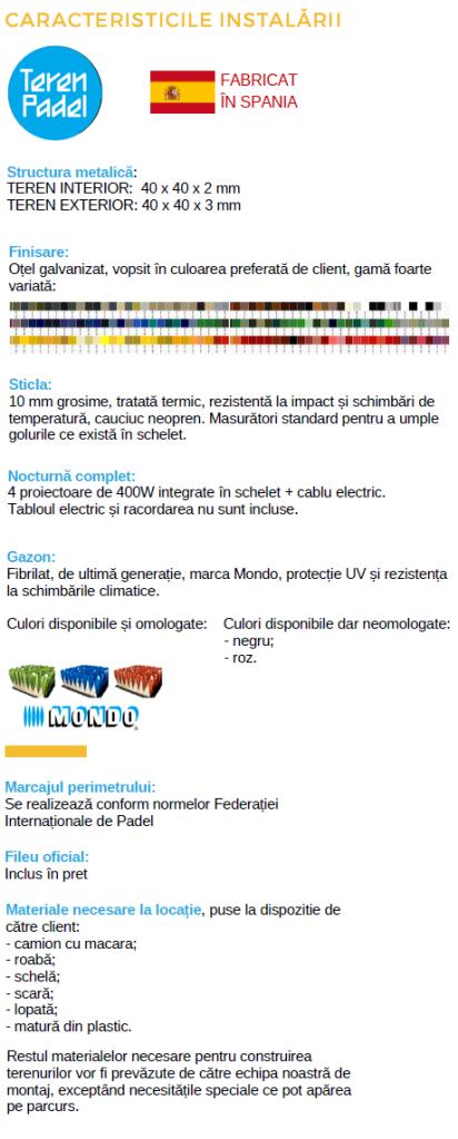 Caracteristicile instalarii TerenPadel