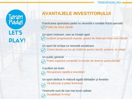 Avantajele investitorului- Teren Padel